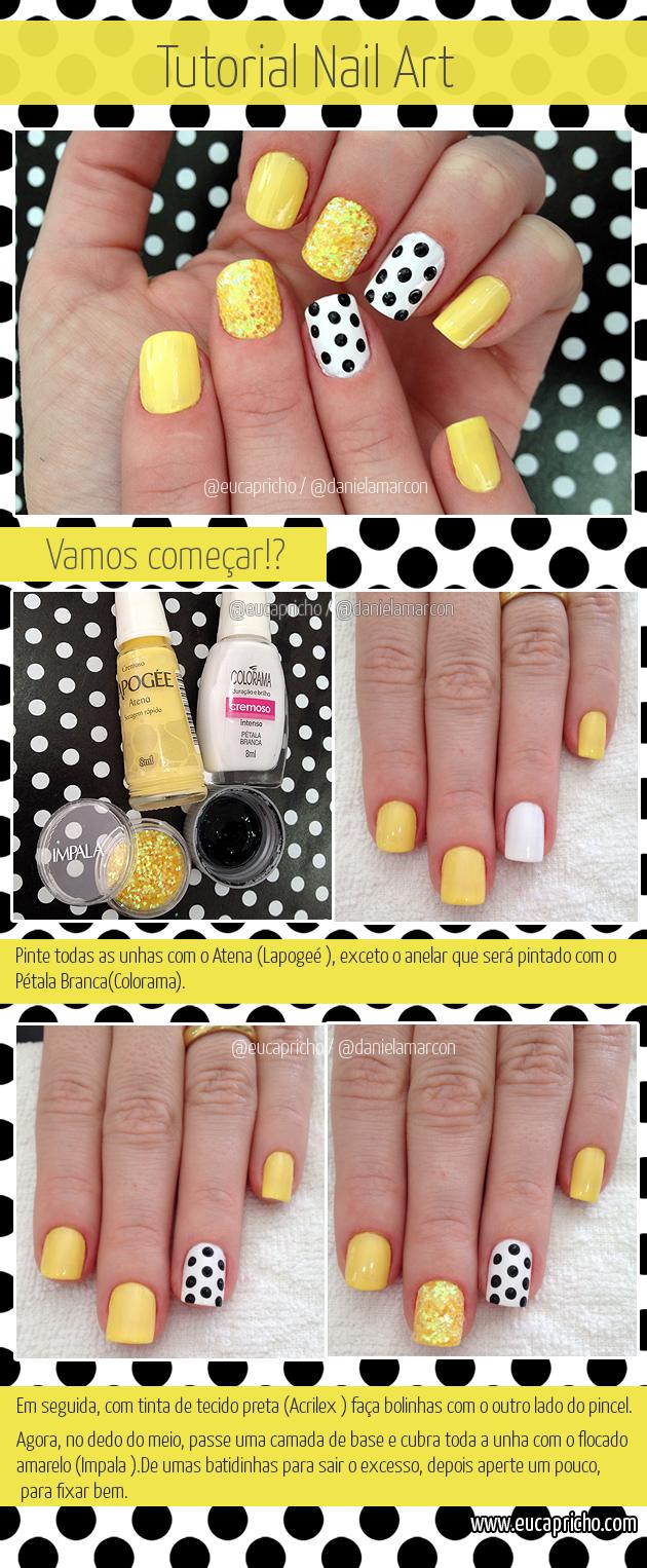 Tutorial Unha Decorada Nail Art bolinhas unhas preto e branco