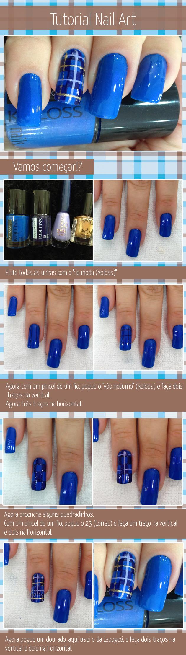 Tutorial Nail Art - Unha Decorada xadrez  esmalte azul