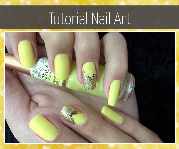 Tutorial Nail Art - Unha Decorada em amarelo
