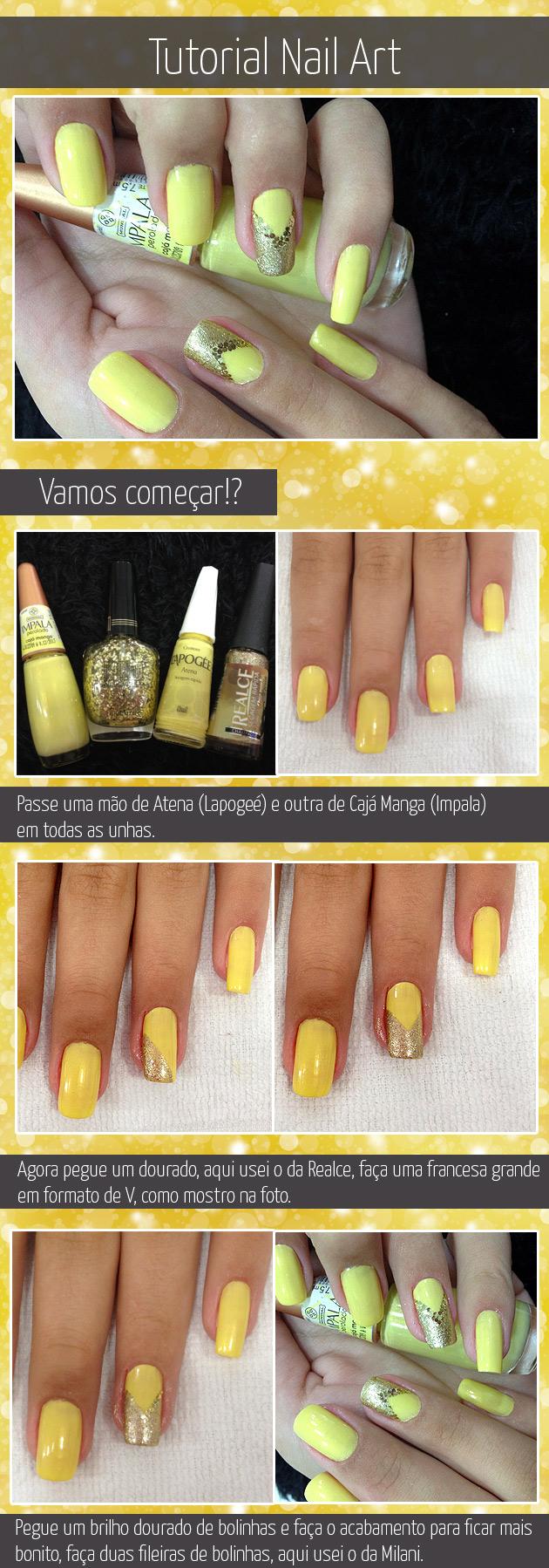 Tutorial Nail Art - Unha Decorada em amarelo e com brilho e dourado