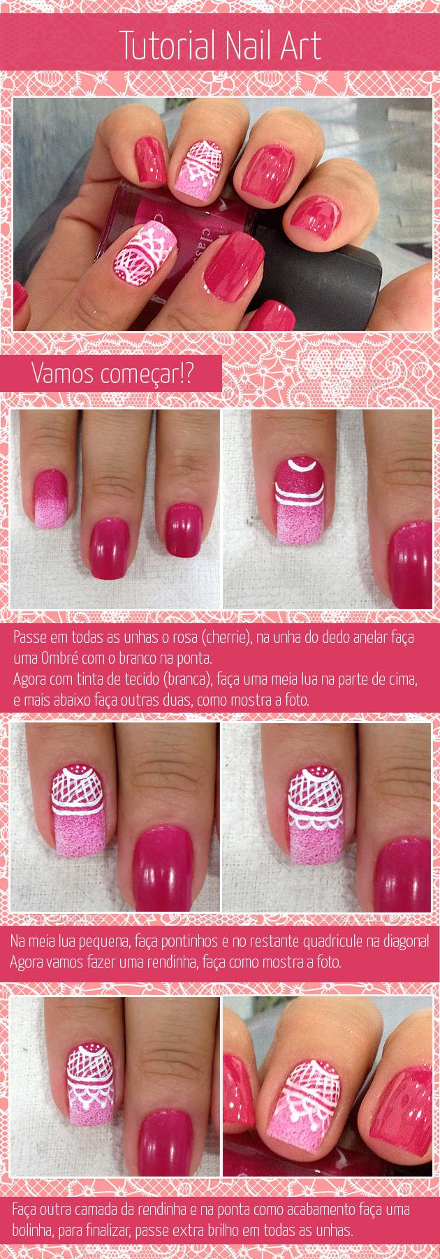 TUTORIAL NAIL ART UNHA DECORADA RENDA unha rendada unha com renda esmalte rosa
