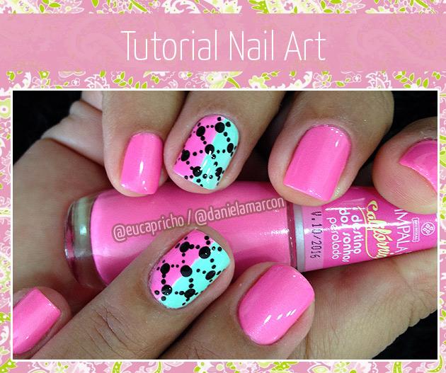 Unha Decorada Nail Art com bolinhas rosa e verde