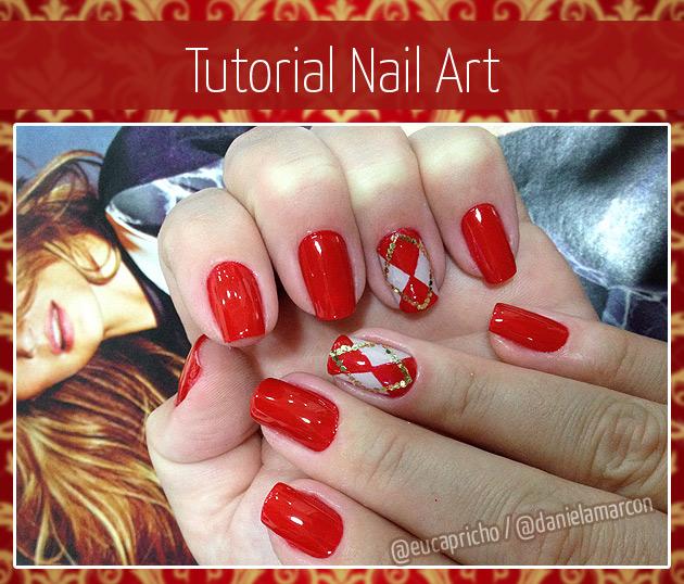 Passo Passo Unha Decorada  - nail art vermelho branco e dourado