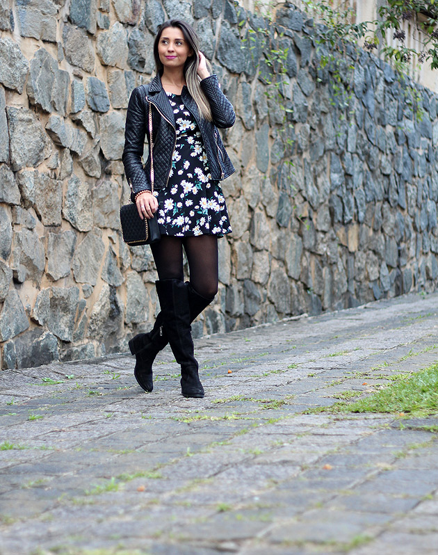 Look Vestido Com Bota Over The Knee Luiza Gomes