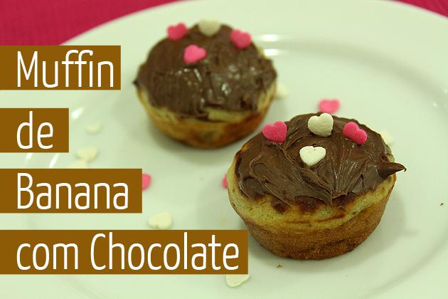 Muffin de Banana com chocolate receita fácil e deliciosa receita de bolo