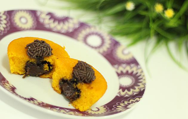 Cupcake de Cenoura com recheio de brigadeiro bolo,bolodecenoura,brigadeiro,bolobrigadeiro,receita