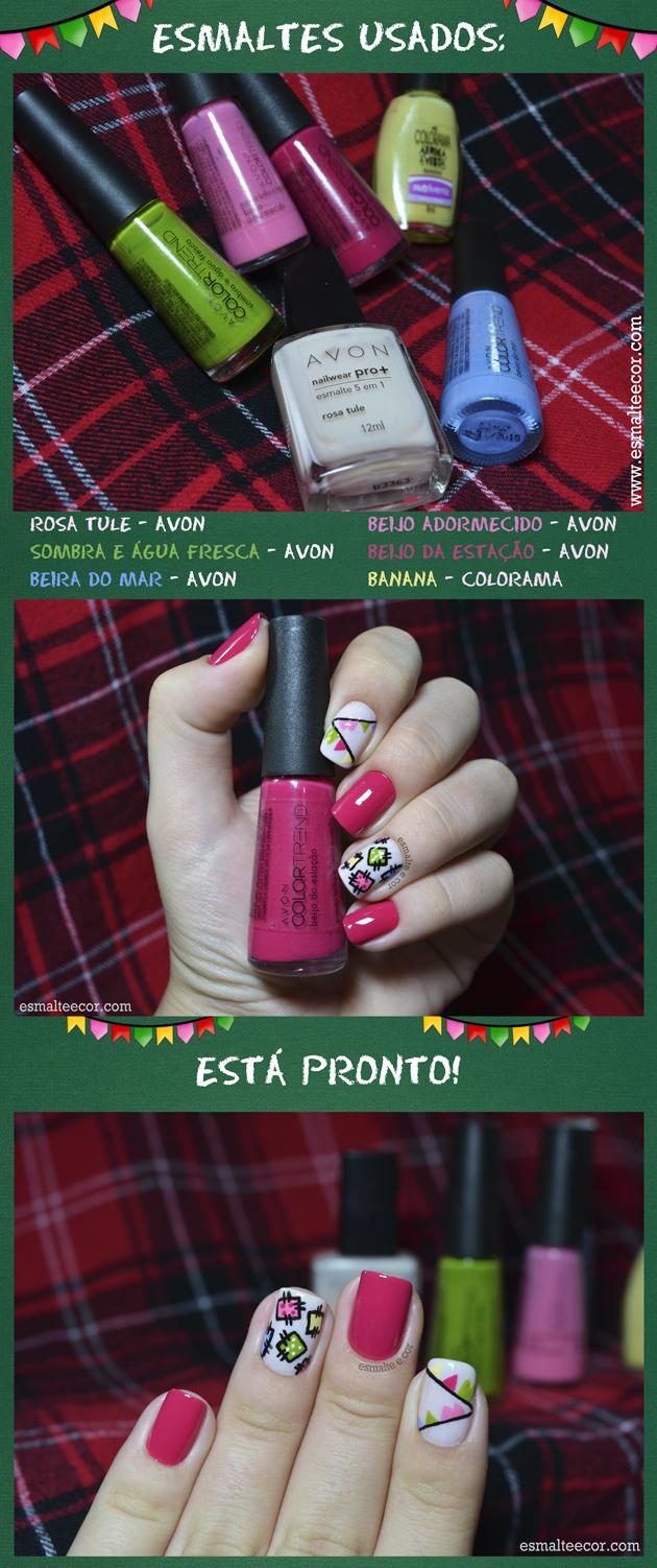 tutorial de nail art passo a passo de unha para festa junina