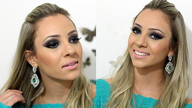 tutorial de maquiagem para festa com brilho, olhos esfumados