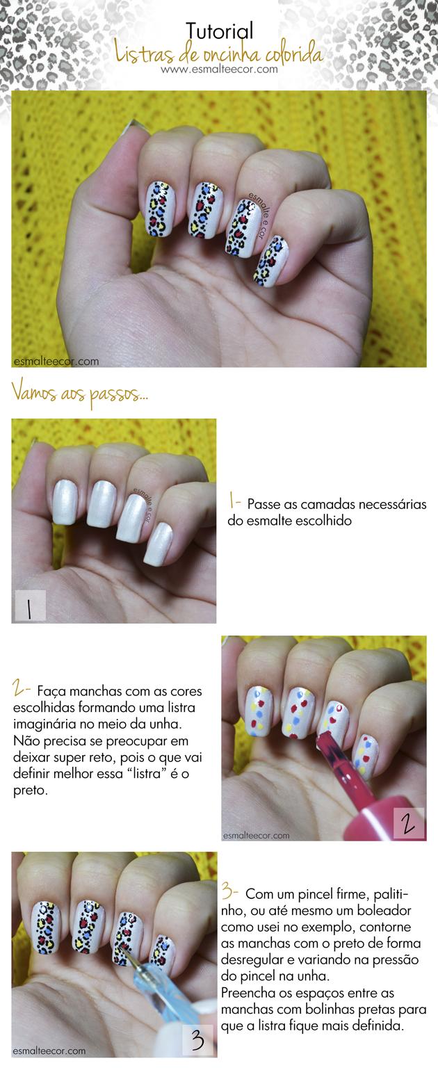 Tutorial Unha Decorada de Oncinha Colorida unha artística de oncinha nail art