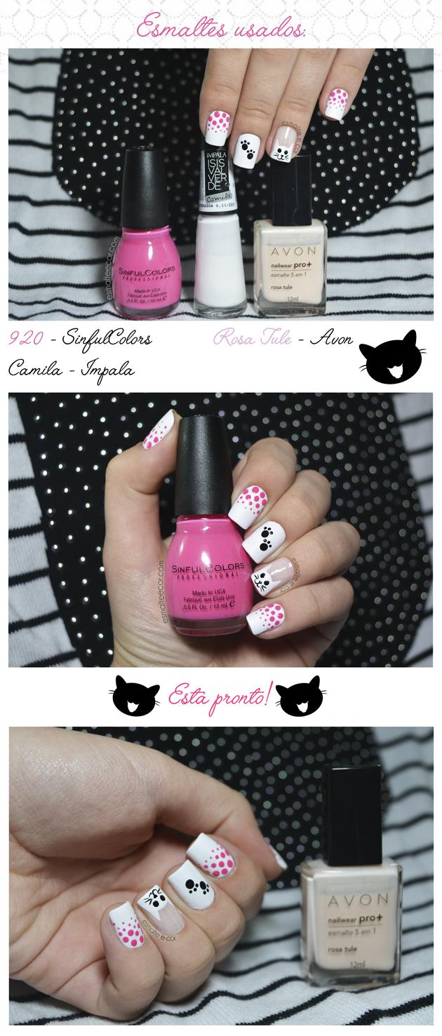 tutorial nail art unha decorada com desenho de gatinho