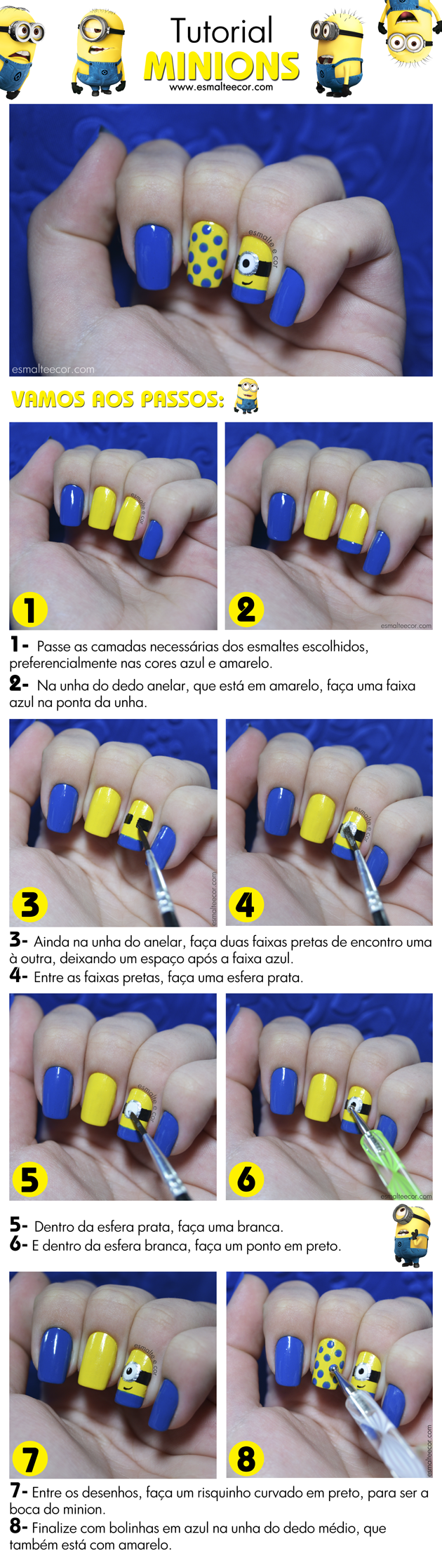 tutorial unha decorada, nail art com os minions passo a passo