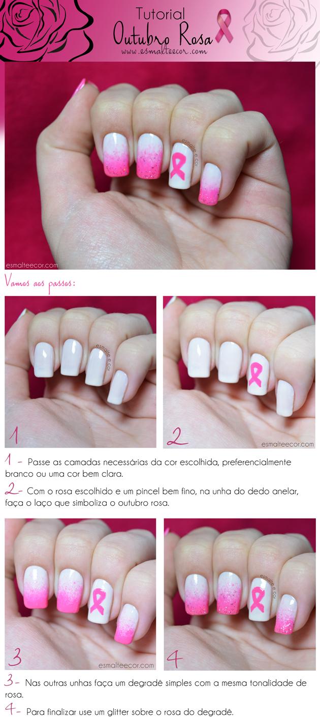 Tutorial Outubro Rosa unha decorada com as cores rosa e branco