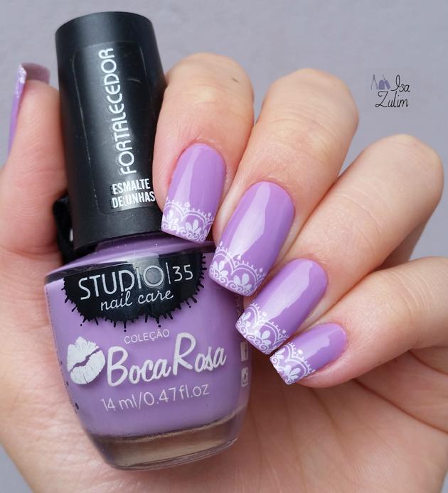 Esmalte Goxxxtosas carimbo esmalte boca rosa lilas nail art unha decorada