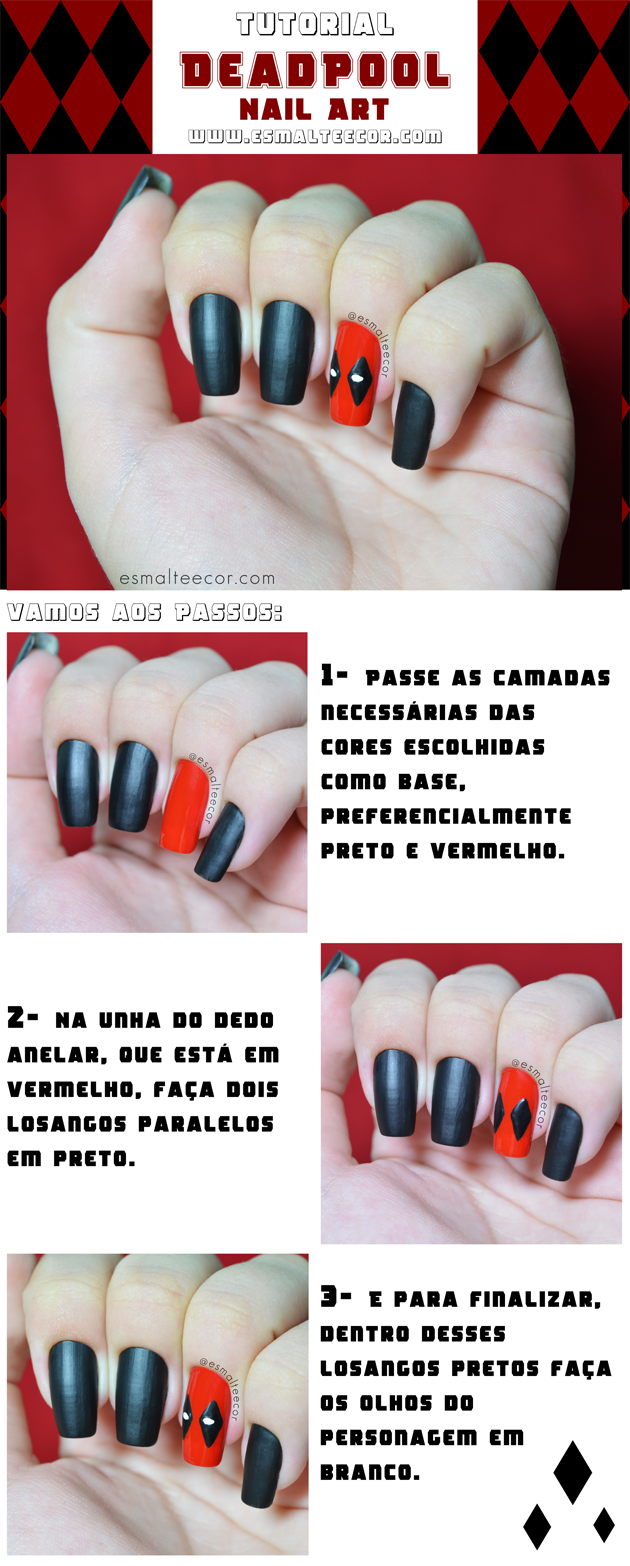 nailart,unhadecorada,passoapasso,deadpool,decoracaodeunha