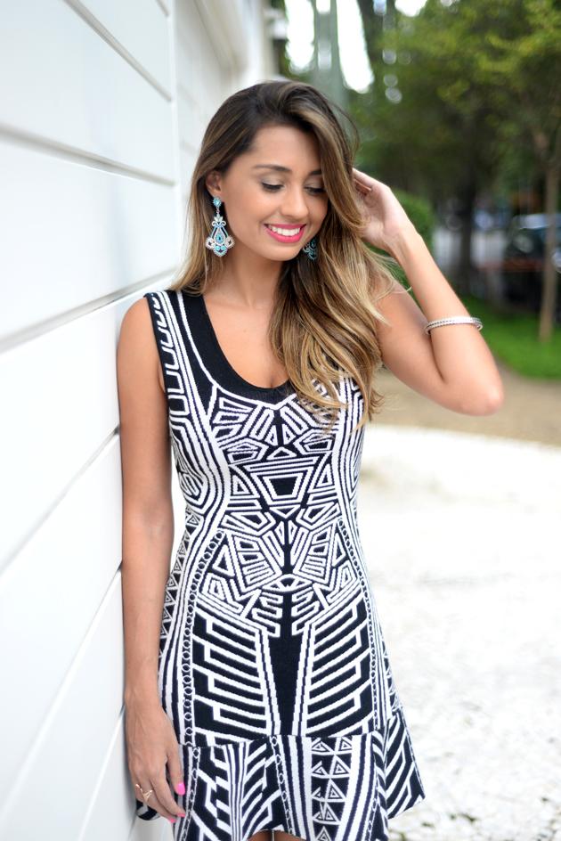 vestido preto e branco look do dia