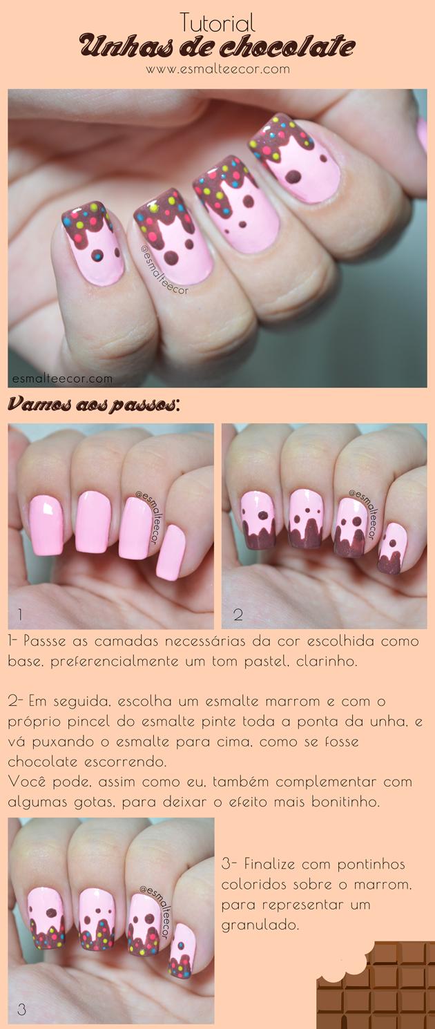 unha de chocolate nail art para pascoa