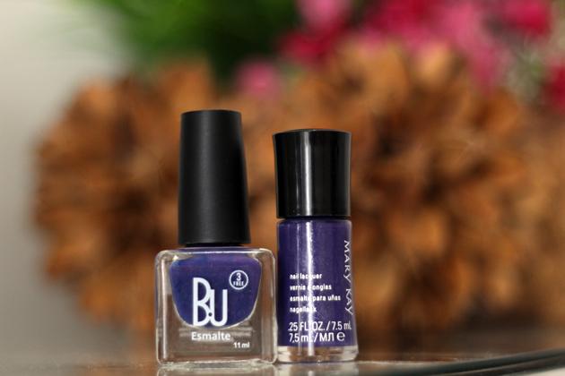 comparando esmaltes BU e Mary Kay esmalte roxo