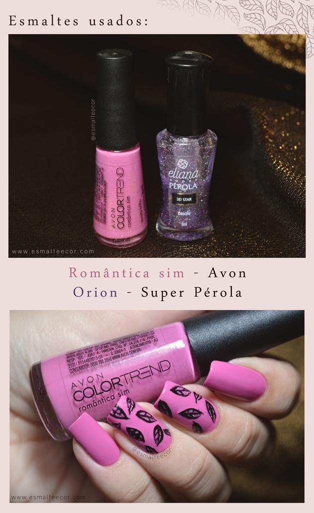 Tutorial Unha decorada - Nail art Leaves esmalte rosa