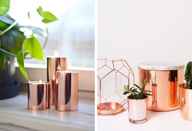 Metalizados na decoração – Cobre e dourado