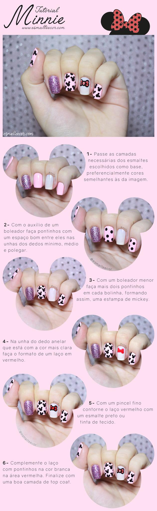 tutorial nail art unha decorada disney passo a passo Minnie