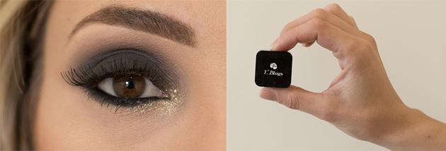 Maquiagem para o Natal / Olho preto com glitter dourado