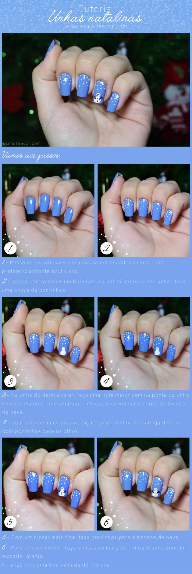 tutorial unhas para o natal