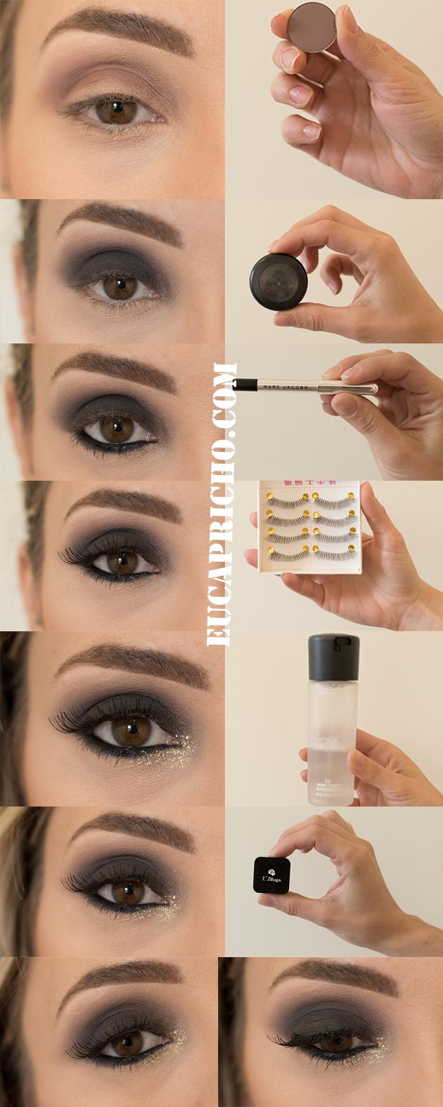 tutorial maquiagem para o natal, olhos pretos com glitter Maquiagem para o Natal / Olho preto com glitter dourado