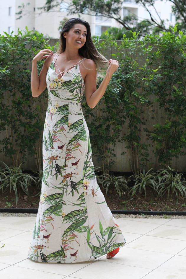 look com vestido longo estampado