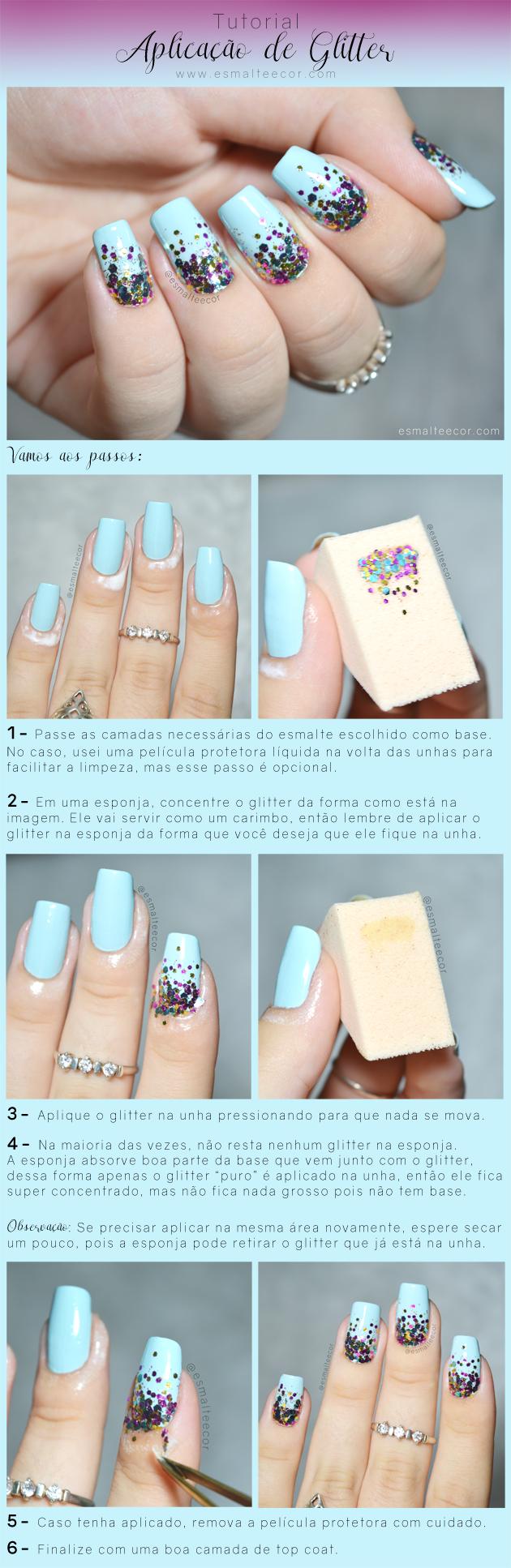 tutorial nail art com glitter passo a passo