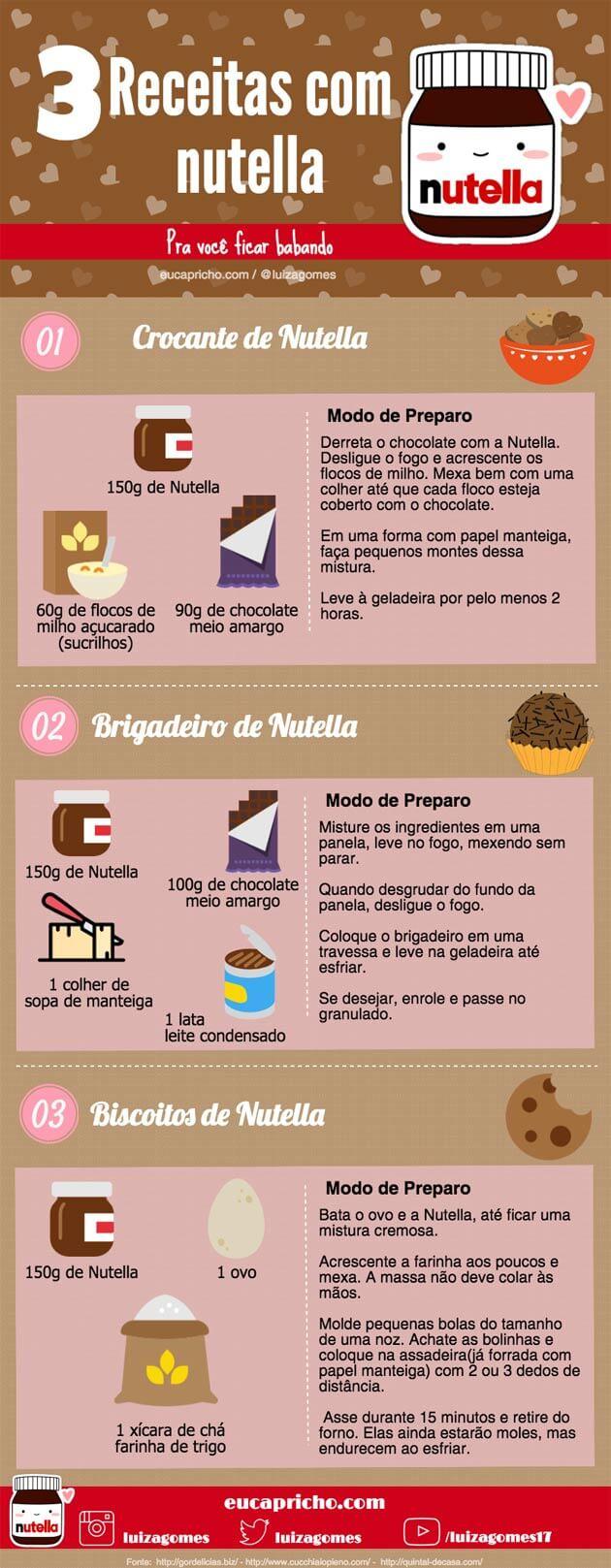 3 receitas com Nutella - receitas fáceis deliciosas para você fazer em casa
