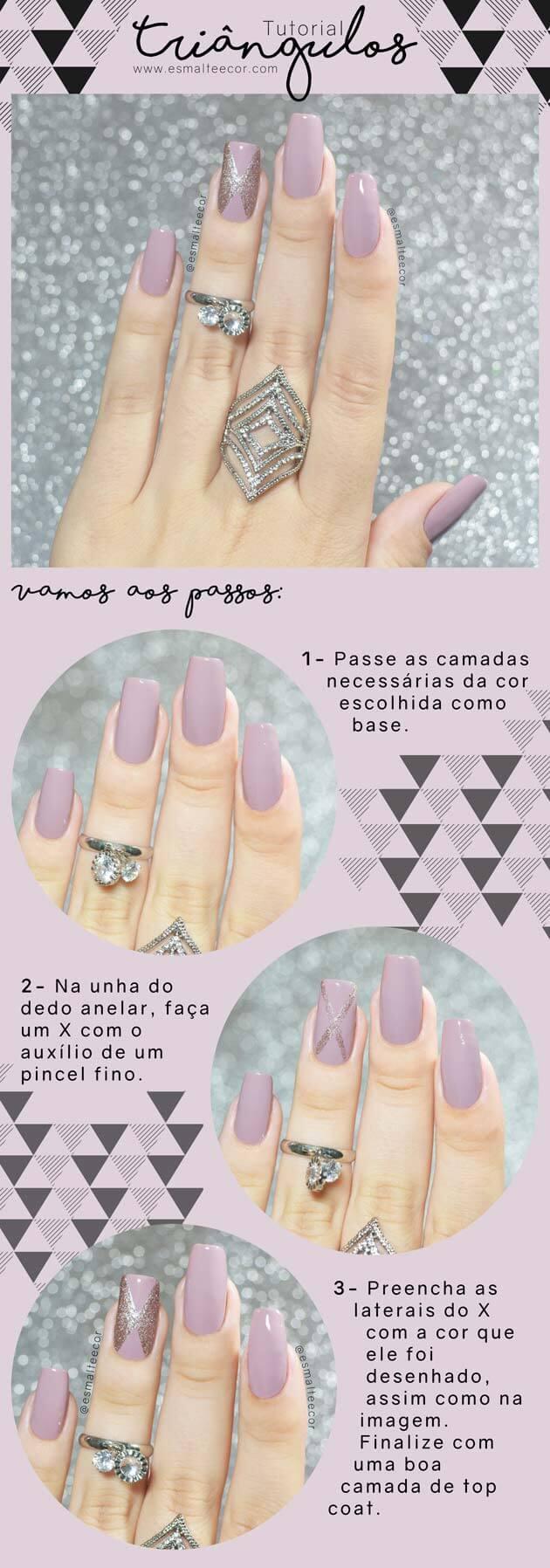 Unhas Decoradas Triângulos passo a passo de nail art com esmalte lilás