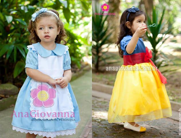 vestidos de festa infantil personagem desenho alice e branca de neve