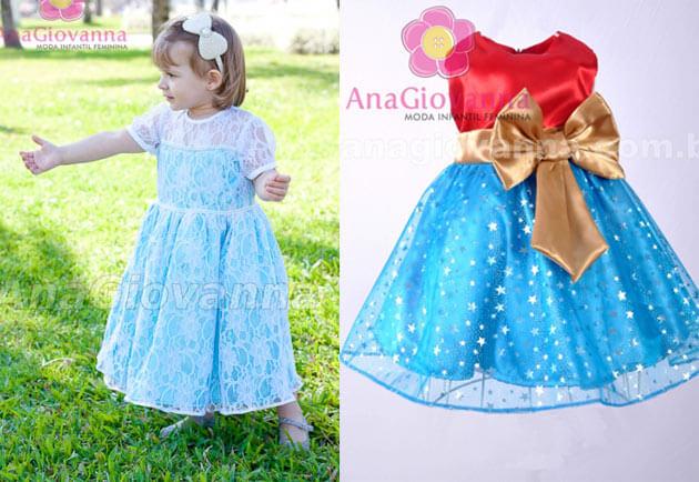 vestidos de festa infantil personagem desenho frozen e mulher mravilha