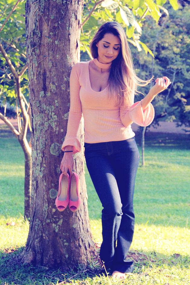 Calça Flare Jeans como usar calça flare jeans luiza gomes eucapricho