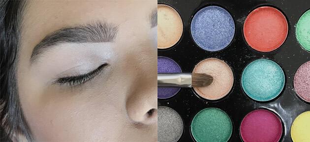Maquiagem Cintilante com delineado gráfico