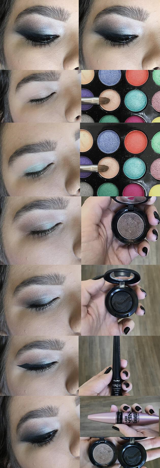 tutorial maquiagem colorido com delineado marcada