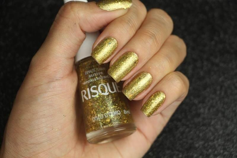 Esmalte Risqué - Gold Vibes e Disco D'Ouro
