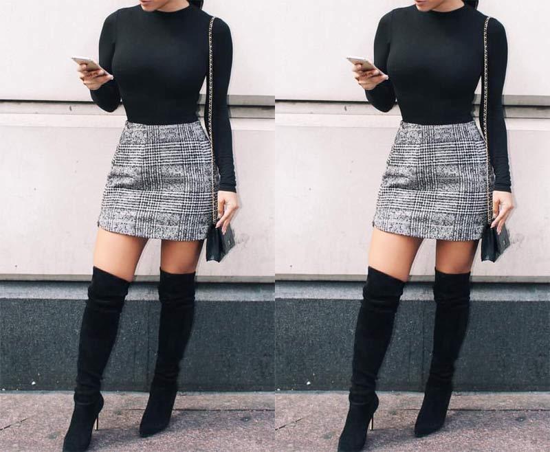 LOOK BALADA INVERNO 2019 - copie os looks para arrasar! Veja como montar looks lindos para a noite e não passar frio! Look para balada com saia e shorts