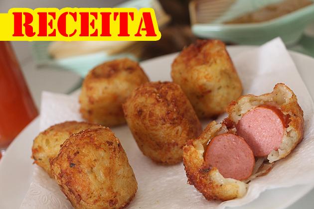 receita bolinho hot dog com batata e salsicha