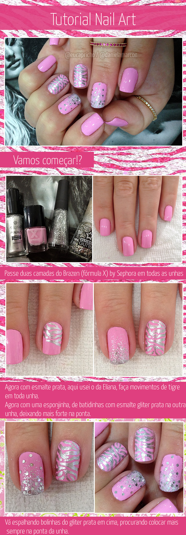 Unha Decorada Tutorial zebra - unha decorada rosa com glitter e brilho